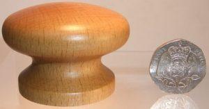 Light oak wooden cupboard knob