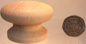 Sanded wooden cupboard knob