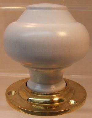 White wooden door knob handle