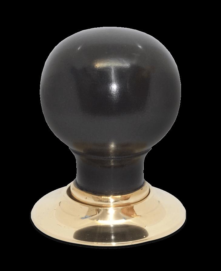 Handmade ebony door knob with brass collar and rose