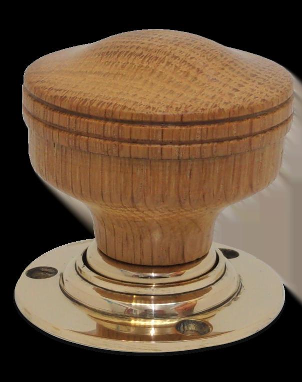 Handmade oak door knob with brass collar and rose