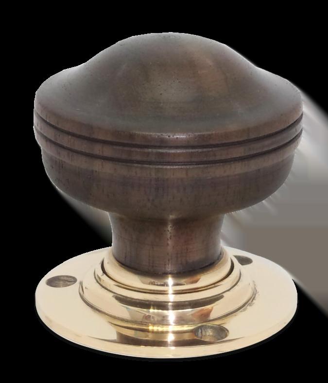 Handmade rosewood door knob with brass collar and rose